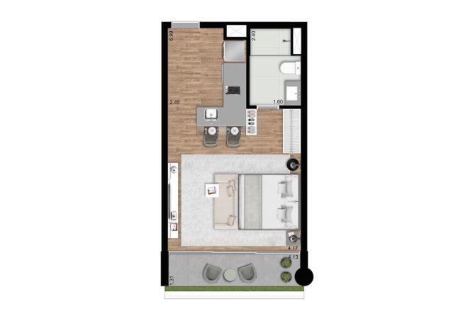 J.C Residence, Planta tipo  – 37 m²