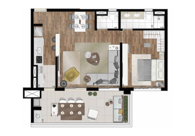 Floor plan - 77m² - 1 suite - with decoration suggestion