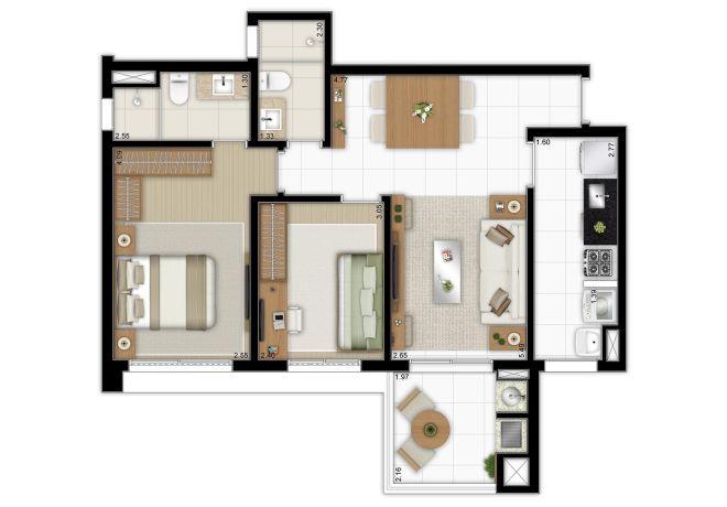 Planta ilustrada 69m² - 2 dormitórios (1 suíte) com sugestão de decoração