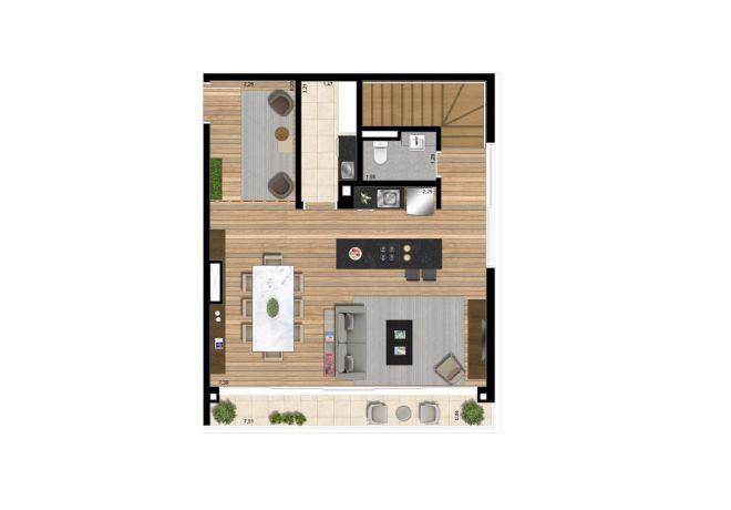 Planta ilustrada pavimento inferior - Apto 139 m² com sugestão de decoração