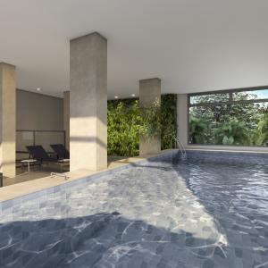 Perspectiva ilustrada da piscina aquecida coberta