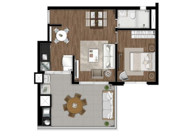 Plant illustrated 60m² - 1 double bedroom. with decoration suggestion