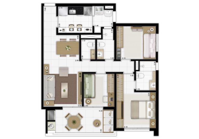 Planta ilustrada 90m² - 3 dormitórios (1 suíte) com sugestão de decoração