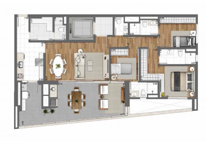 128 m² floor plan - 3 bedrooms (1 suite) with decoration suggestion