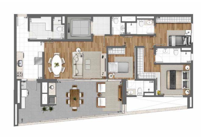 Planta ilustrada 128m² – 3 dormitórios (1 suíte) com sugestão de decoração