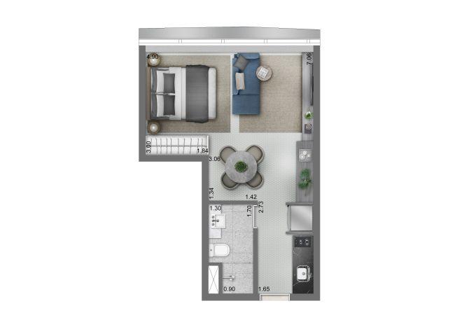 Funchal 641, Torre Apartments - Planta Studio - 32m²