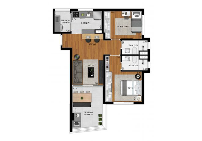 Planta type 69 m² apartment - 2 bedrooms (1 suite)
