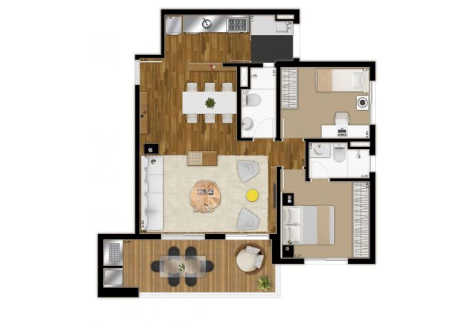 Plant Illustrated 85m² - 2 Dorms (1 suite) - with decoration suggestion