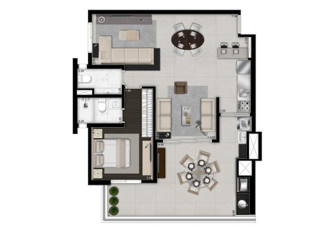 Illustrated plant 88m² - 1 suite with decoration suggestion