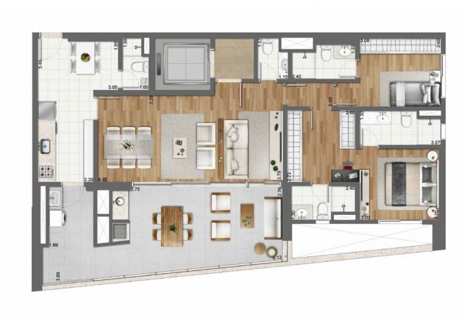 128 m² floor plan - 2 suites with decoration suggestion