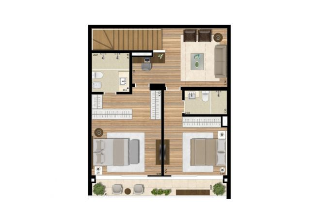 Planta ilustrada Pavimento Inferior - Apto 144m² com sugestão de decoração