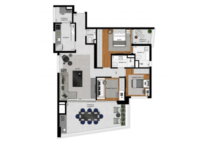 Plan type 117 m² apartment - 3 bedrooms (1 suite)