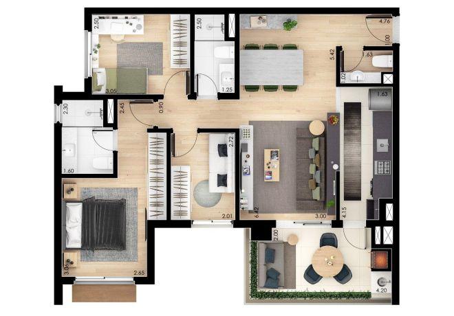 3 Dorms (suite)-Gourmet terrace-toilet