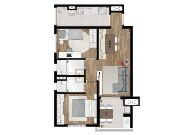 Floor plan - 62m² - 2 bedrooms (1 suite) - with decoration suggestion