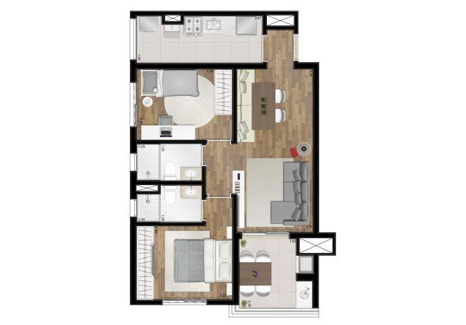 Planta ilustrada - 62m² - 2 dormitórios (1 suíte) - com sugestão de decoração