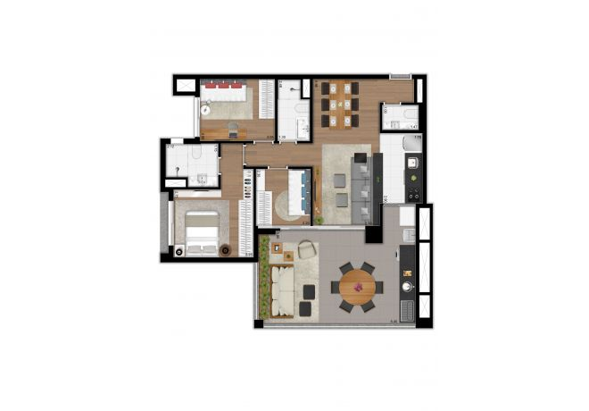 Floor plan type - 97 sqm apartment - 3 bedrooms (1 suite) and lavatory