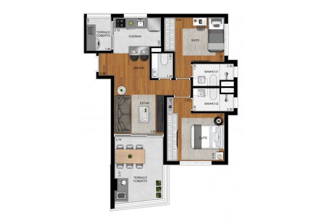 Plan option 69 m² apartment - 2 suites and lavatory