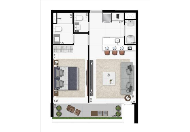 J.C Residence, Planta  tipo – 56 m²