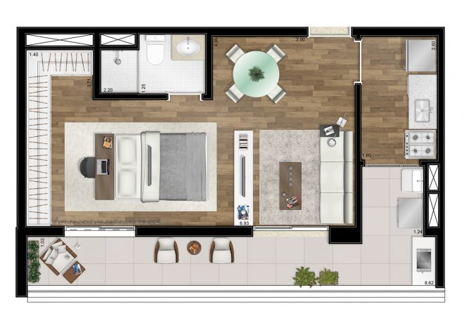 Floor plan - 50m² - 1 integrated suite - with decoration suggestion