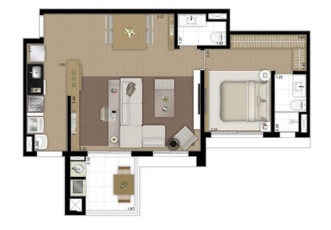 Floor plan 69m² - 1 master suite with decoration suggestion