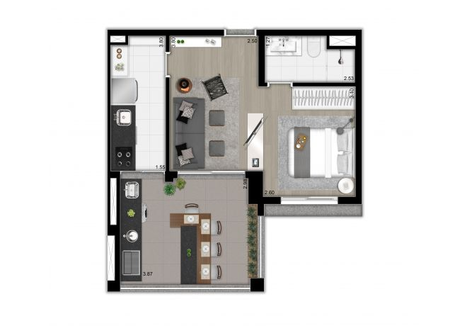 Planta ilustrada do apto. de 47m² - studio, cozinha fechada e ampliada - opção 2