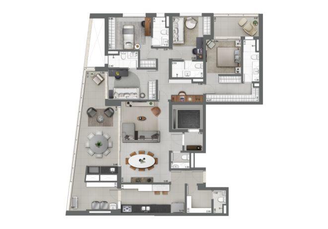 Grand Habitarte, PLANTA TIPO 189m²