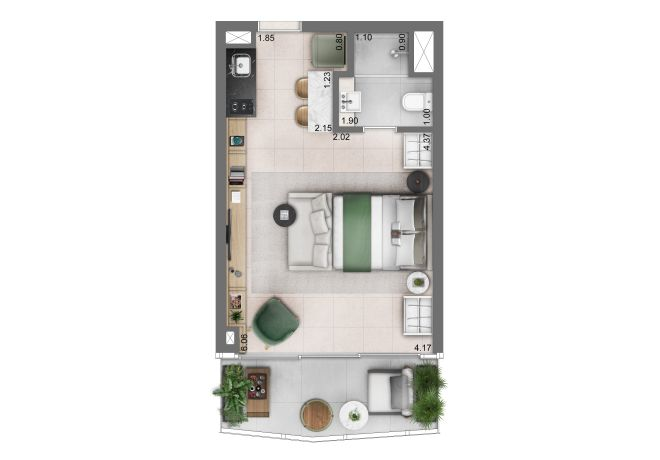 Funchal 641, Torre Apartments - Planta Studio - 36m²