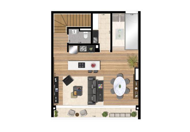 Planta ilustrada pavimento superior - Apto 144m² com sugestão de decoração