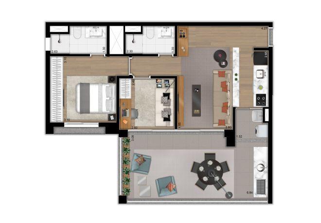 Planta ilustrada do apto. de 79M² - 2 dormitórios (1 suíte ampliada) e cozinha aberta – opção 2