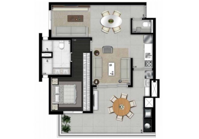 Illustrated plant 88m² - 1 master suite with decoration suggestion
