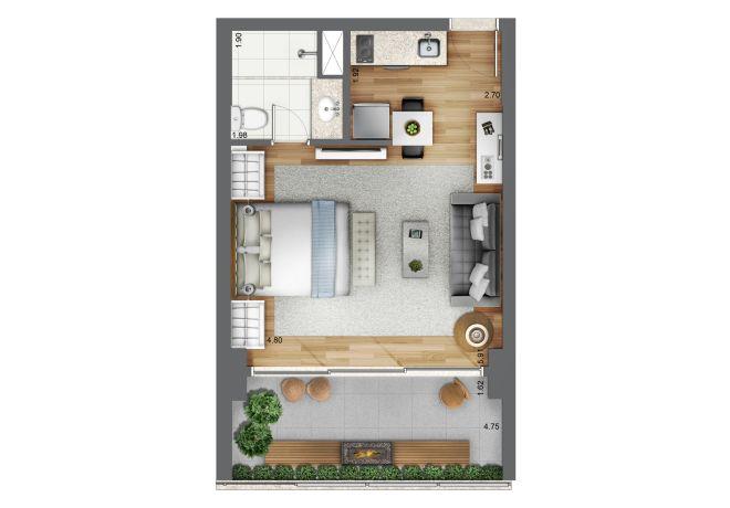 planta ilustrada 41m² - Stúdio com sugestão de decoração