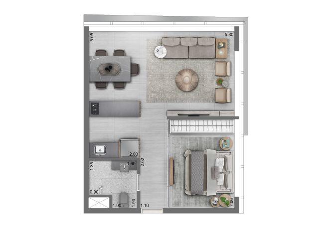 Funchal 641, Torre Apartments - Planta 1 Dorm. - 46m²