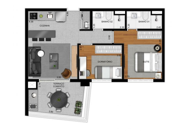 Plan type 61 m² apartment - 2 bedrooms (1 suite)