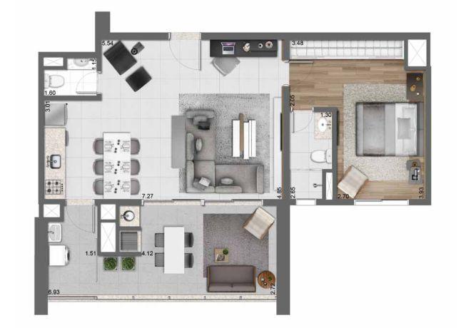 Planta ilustrada 83 m² - 1 suíte com sugestão de decoração