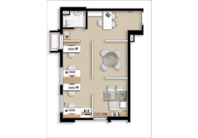 Planta ilustrada - 38m² - final 8 - com sugestão de decoração