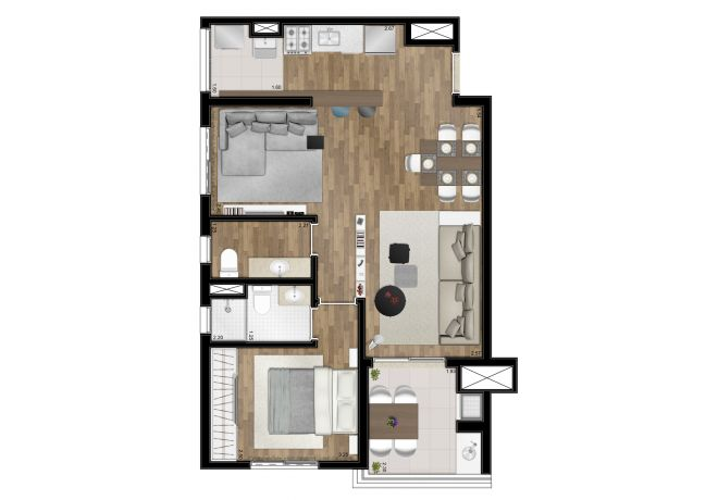 Floor plan - 62m² - 1 suite - with decoration suggestion