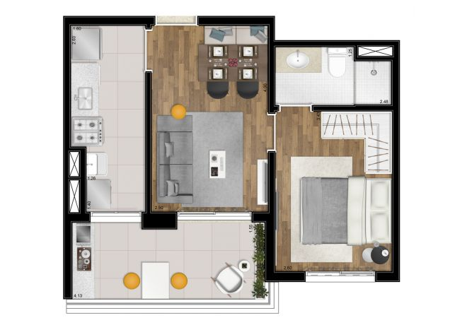 Illustrated plan - 41m² - 1 suite - with decoration suggestion