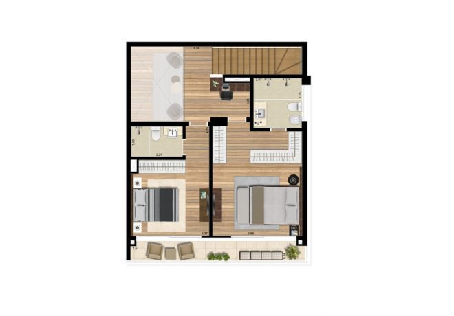 Plant illustrated Upper Floor - Apartment 139m² with decoration suggestion