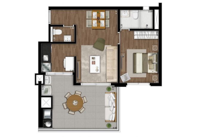 Illustrated plant 60m² - 1 suite with decoration suggestion