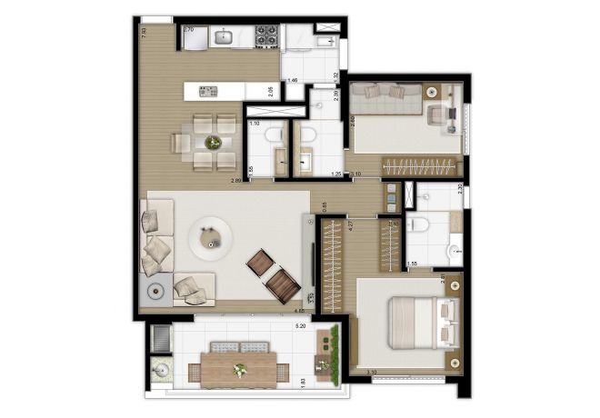 Floor plan 90m² - 2 suites with decoration suggestion
