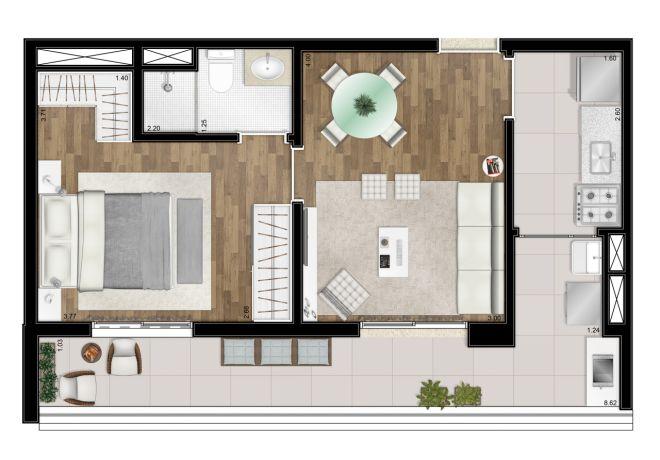 Planta ilustrada - 50m² - 1 suíte - com sugestão de decoração