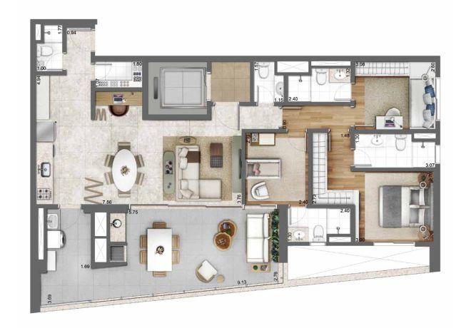 Planta ilustrada 131m² – 3 suítes e cozinha integrada com sugestão de decoração