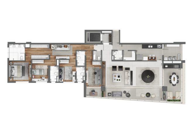 Grand Habitarte, PLANTA TIPO 225m²