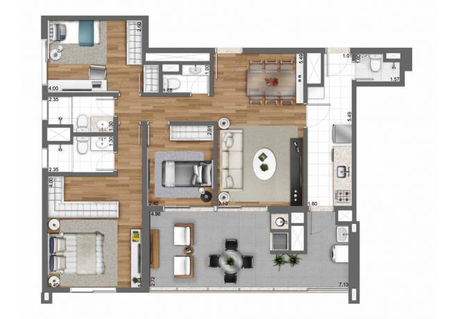 105 m² floor plan - 3 bedrooms (1 suite) with decoration suggestion
