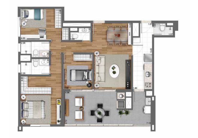 Planta ilustrada 105 m² – 3 dormitórios (1 suíte) com sugestão de decoração