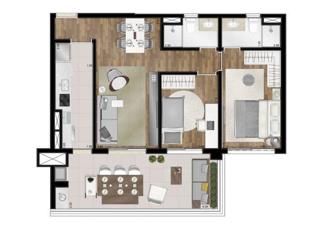 Planta ilustrada - 77m² - 2 dormitórios (1 suíte) - com sugestão de decoração