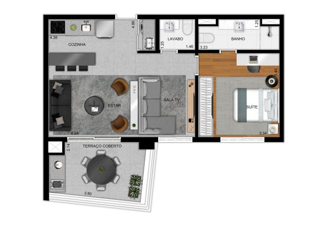 Plan option 61 m² apartment - 1 suite and extended living room