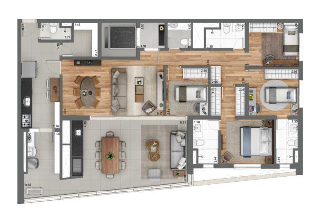 Grand Habitarte, PLANTA TIPO 158m²