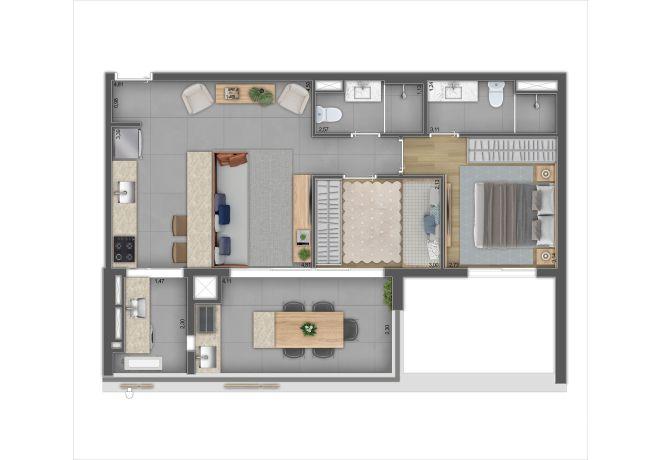 737 Pedroso, Plant Type 2 - 2 Dorms and 1 Suite - 71m²