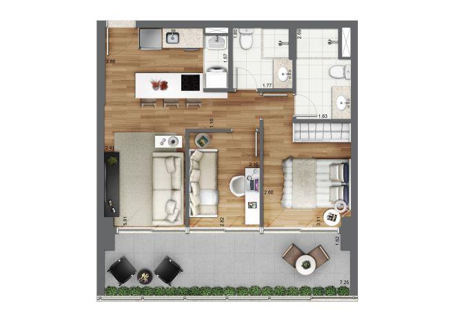 Planta ilustrada 61m² -  2 dormitórios (1 suíte) com sugestão de decoração